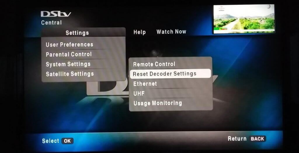 How to reset DStv decoder without remote